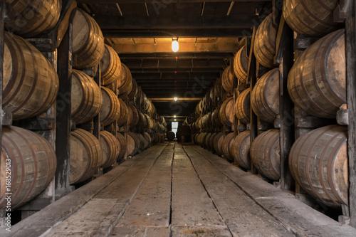 Low Angle of Bourbon Aging Warehouse Walkway