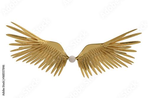 Gold wings on white background.3D illustration. Fototapete