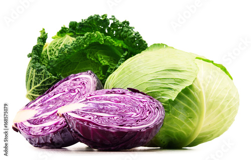 Fotografía Fresh organic cabbage heads isolated on white