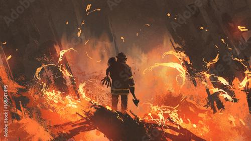 Valokuva firefighter holding girl standing in burning buildings, digital art style, illus