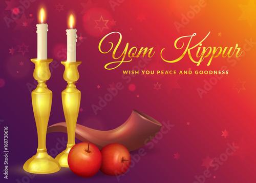 Canvas Print Yom Kippur greeting card.