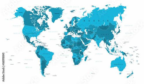 Mapa świata Polityczny niebieski wektor