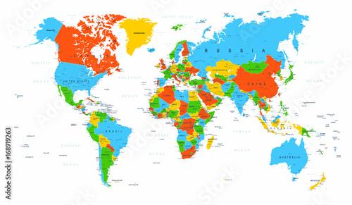 World Map Political Red Blue Green Vector