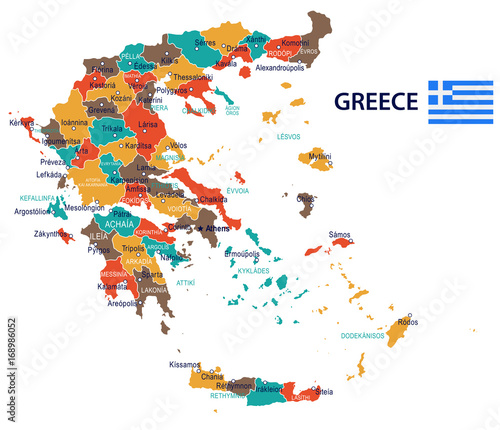 Photo Greece - map and flag – illustration