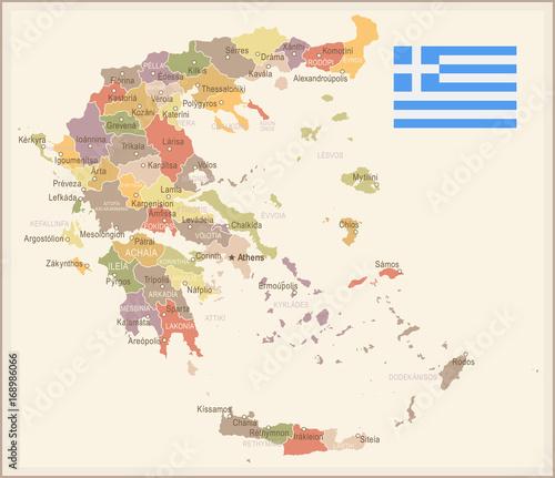 Photo Greece - vintage map and flag - illustration