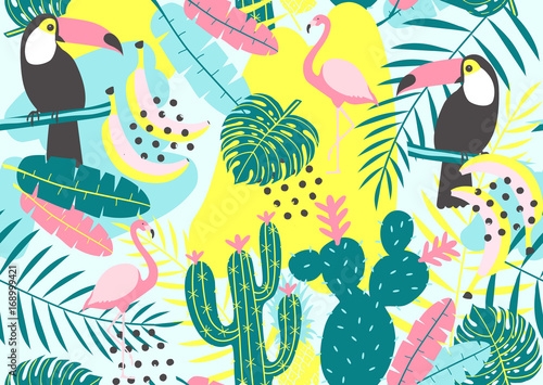 Fototapeta Tropical seamless pattern with toucan, flamingos, cactuses and exotic leaves