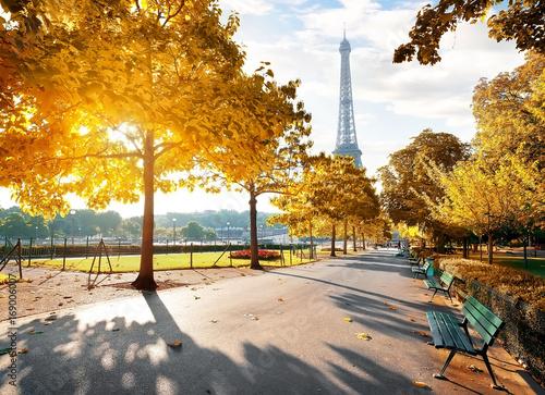 Naklejki na meble Słoneczny poranek w Paryżu jesienią porą roku