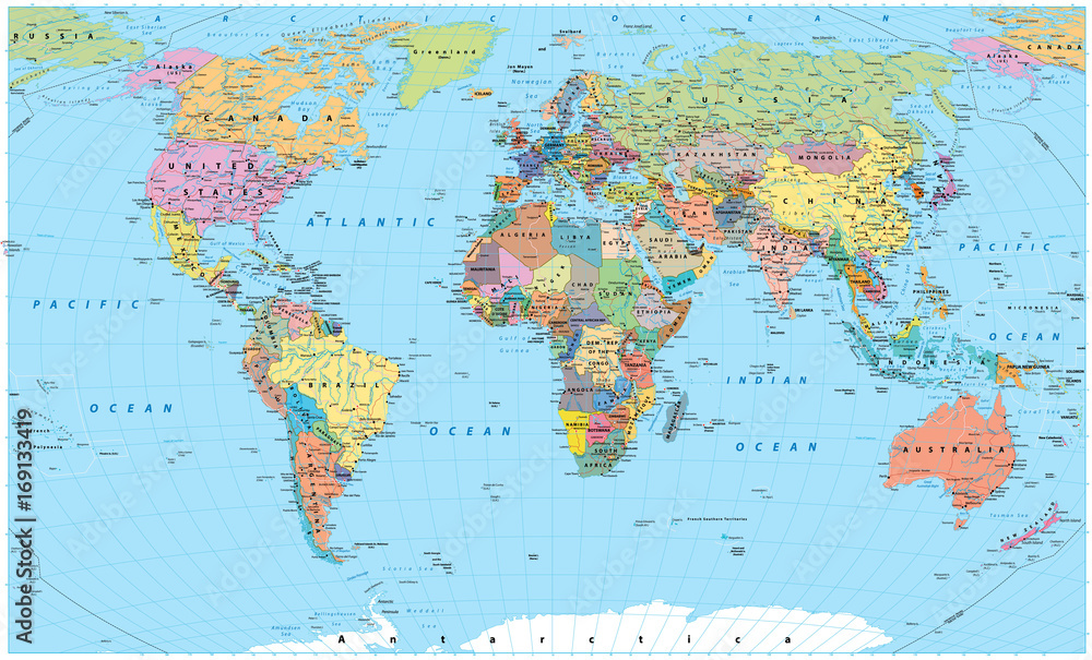 Kolorowa mapa świata - granice, kraje, drogi i miasta <span>plik: #169133419   autor: pomogayev</span>
