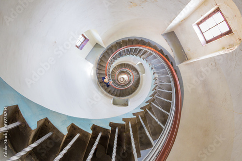 spiral stairway in a lighthouse seen from top