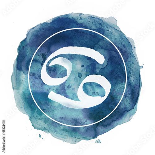 Fotografie, Obraz cancer zodiac sign on watercolor background