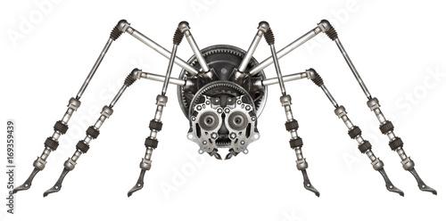 Steampunk style futuristic spider