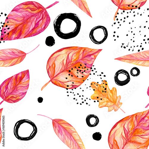 Plakat z jesiennymi liśćmi i figurami geometrycznymi