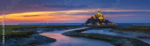 Fotografie, Obraz Mont Saint-Michel view in the sunset light