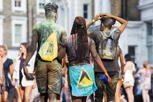 NOTTING HILL CARNIVAL, LONDON, UK - 27 Aug 2017: Unidentified people taking part at Notting Hill carnival, London, UK