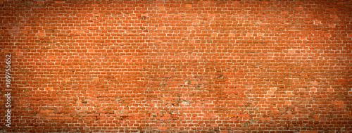 Stary ceglany mur panoramiczny widok.