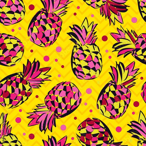 Plakat z jaskrawym abstrakcyjnym wzorem w ananasy