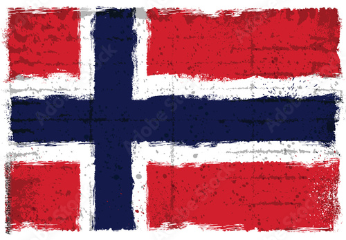 Wallpaper Mural Grunge elements with flag of Norway.