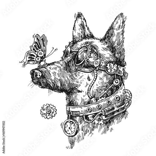Obraz na płótnie Hand drawn vector sketch of dog. Steampunk style illustration.