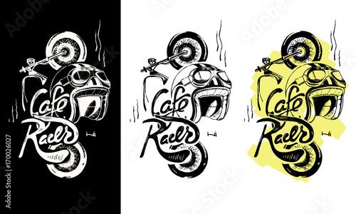 Canvas-taulu Cafe racer print t-shirt. Motorcycle, helmet