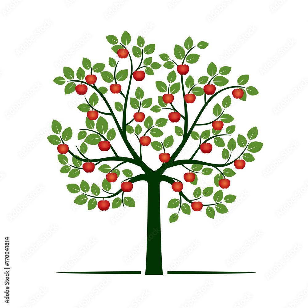 Zielone drzewo z czerwonymi jabłkami. Ilustracja wektorowa. <span>plik: #170041814 | autor: topor</span>