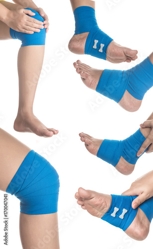 Foto Collection of Knee and Ankle wrapped in elastic bandage on white background