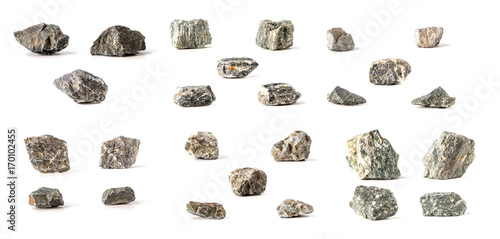 Canvas Print Group Set Stones isolated on white background