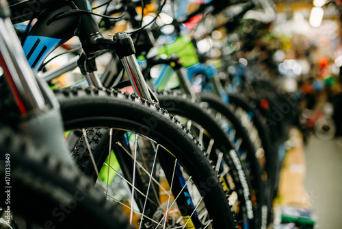 Bicycle shop, rows of new bikes, cycle sport store