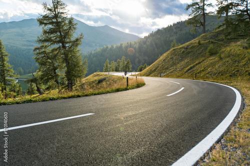 Canvas Print Asphalt road in Austria, Alps in a summer day.