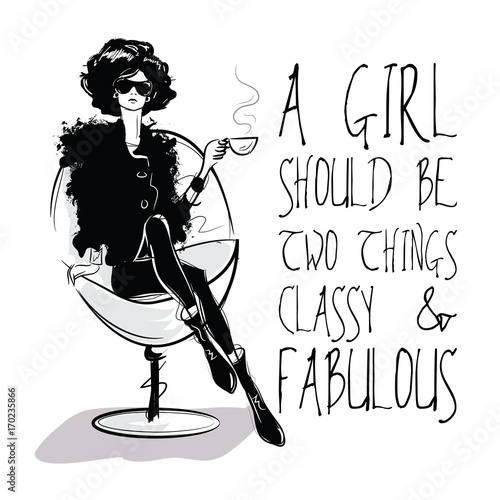 Moda cytat z moda kobieta w styl szkic.