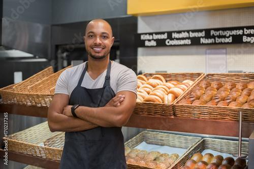 Tableau sur Toile Happy african baker man