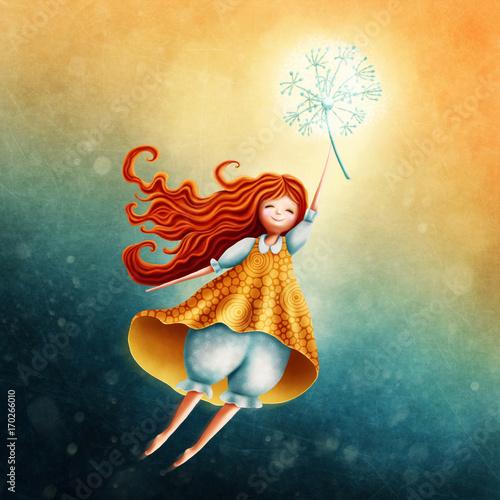Fototapeta Little fairy girl flying