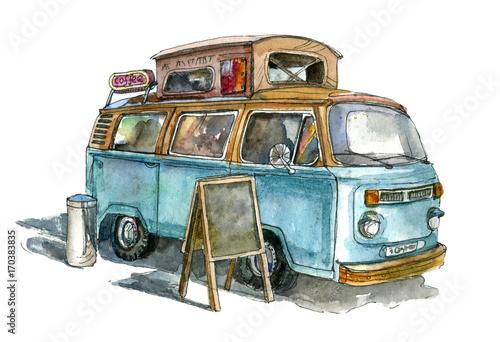 Canvas Print Street coffee van