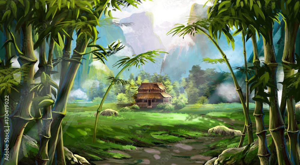 Las Bambusowy. Dom, góra. Gra wideo w Digital CG grafiki, ilustracja kolorowy koncepcja, realistyczne tło stylu Cartoon <span>plik: #170419022   autor: info@nextmars.com</span>