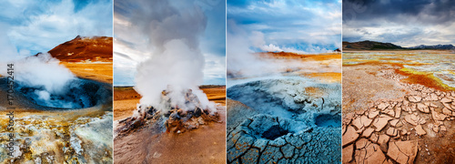Obraz na płótnie Creative collage geothermal area Hverir (Hverarond) with vertical photo