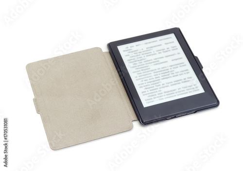 E-reader in e-reader case on a white background