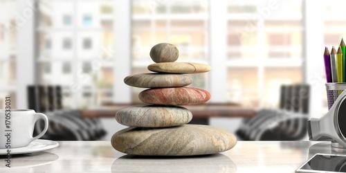 Canvas Print Zen stones stack on a desk, office background. 3d illustration