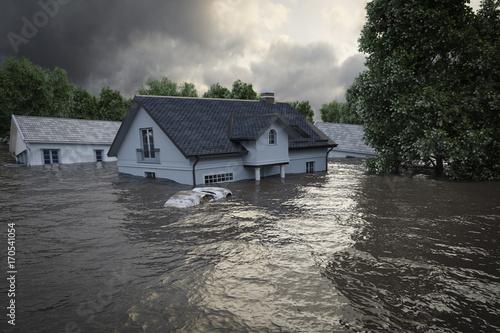 Obraz na plátne 3d rendering. flooding houses
