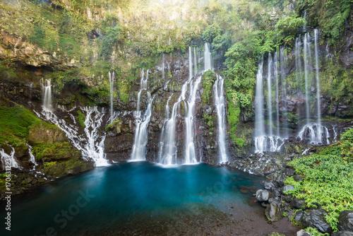 Canvas Print Les Cormorans Waterfall on La Reunion Island, France
