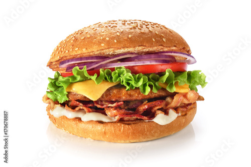 Fotografie, Tablou Home made hamburger with lettuce, cheese and bacon isolated on white background