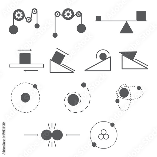 Wallpaper Mural set of physics icon and science, mass, gravity, atom, resistance, nuclear