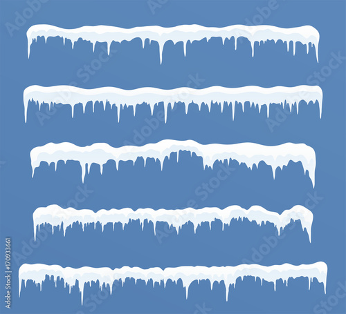 Wallpaper Mural Set of long ice caps. Snowdrifts, icicles, elements winter decor