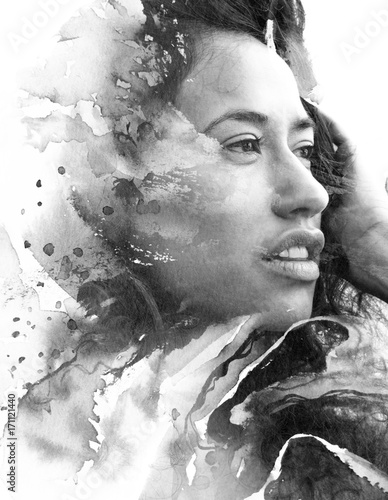 Paintography in black and white, painting combined with a portrait of a seductive exotic female with pouty lips and thick hair