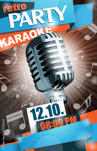 Szablon retro ulotki wektor karaoke