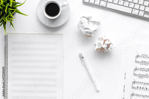 Fototapeta songwriter or dj work place with paper for notes coffee on white background top