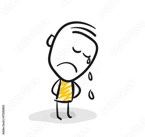 Strichfiguren / Strichmännchen: Weinen, Trauer. (Nr. 72) Fototapeta