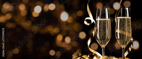 Obraz na płótnie Prosit Neujahr - Silvester - Champagnerempfang Banner