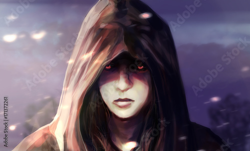 Fotografia, Obraz Illustration of a fantasy woman face in hood with glowing eyes and blue landscape background