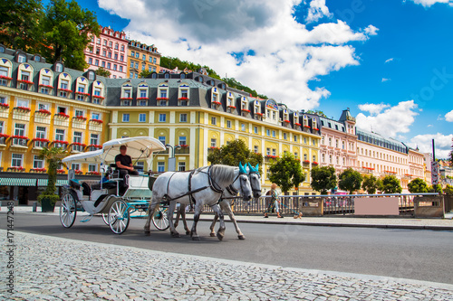 Fotografia Karlovy Vary at summer daytime. Czech Republic