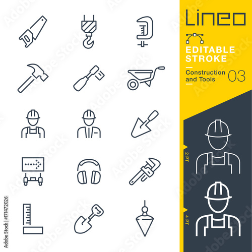 Foto Lineo Editable Stroke - Construction and Tools line icons Vector Icons - Adjust