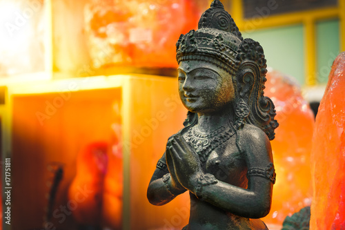 female Indian statue pray god goddess lakshmi